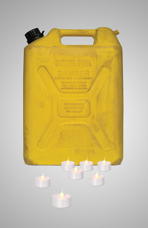 jerry can and led tea lights